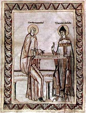 Guido d'Arezzo con un monocordo e il suo protettore Teodaldo (A-Wn, Cod. Lat. 51, c. 35) Immagine tratta da http://www.examenapium.it/meri/1000-A.htm